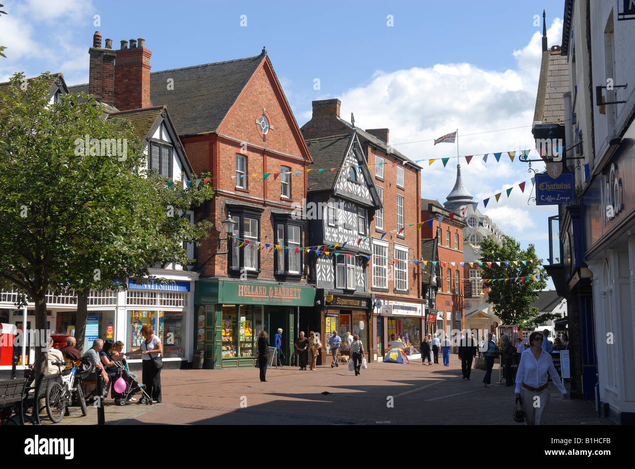 High Street in Nantwich Cheshire England - Stock Image