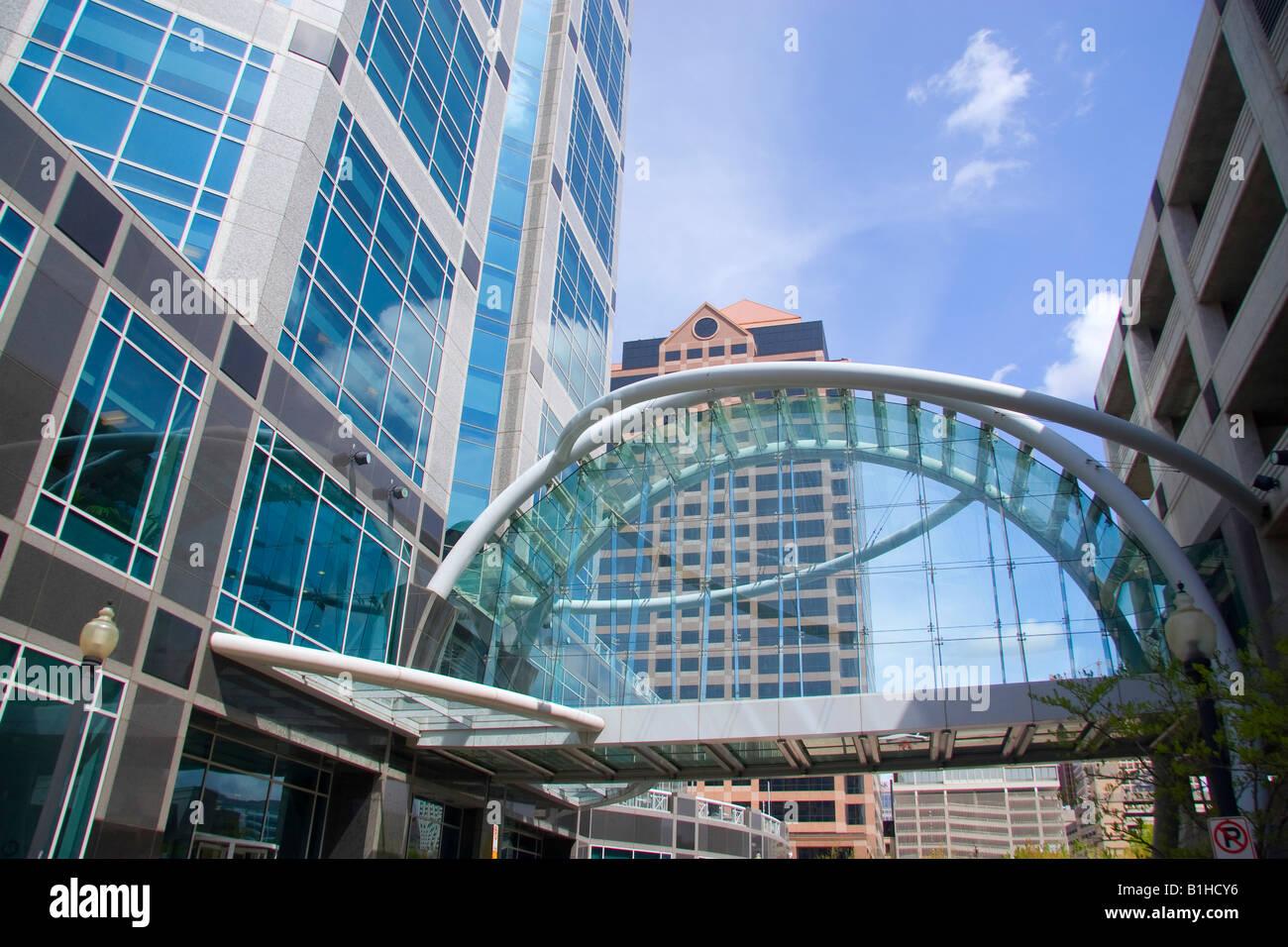 wells fargo building and pedestrian sky bridge in downtown