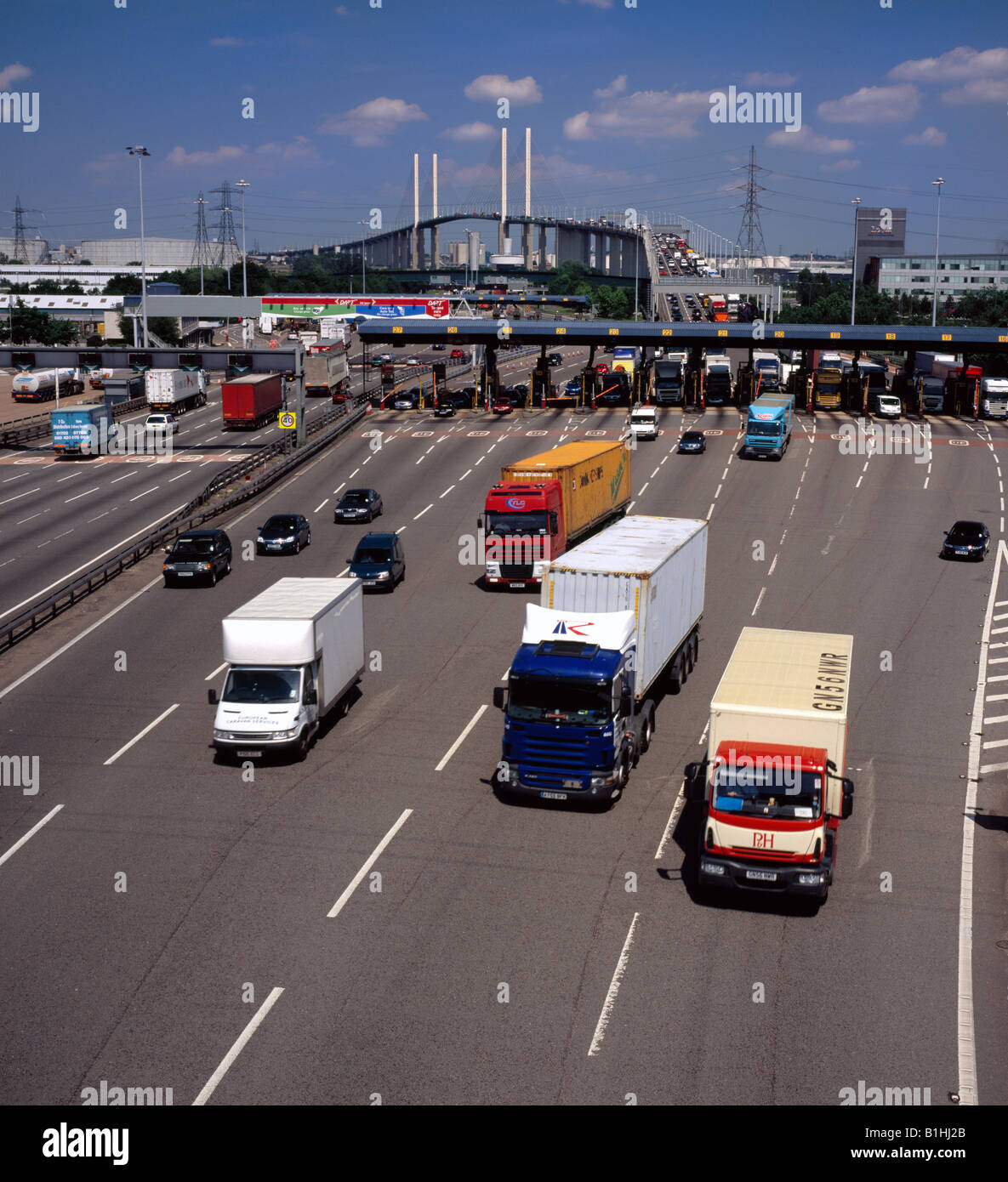 The old Dartford tolls M25, now removed. - Stock Image