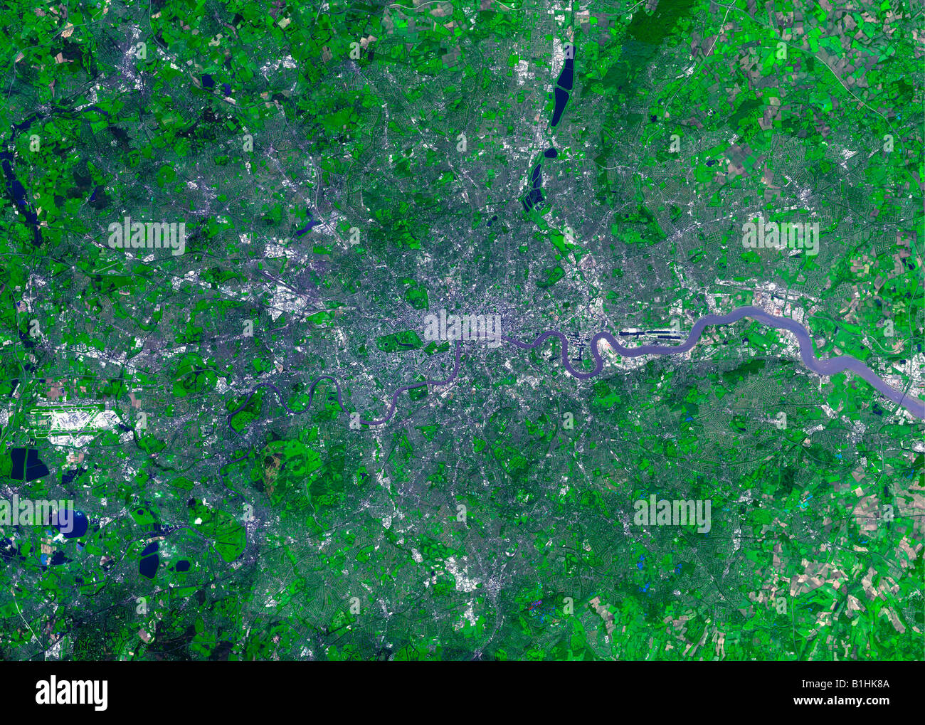 Satellite view of London England UK - Stock Image
