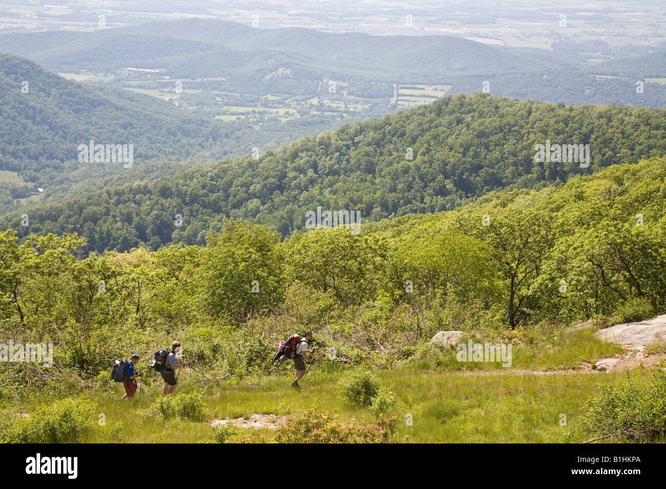 Backpackers on Appalachian Trail - Stock Image
