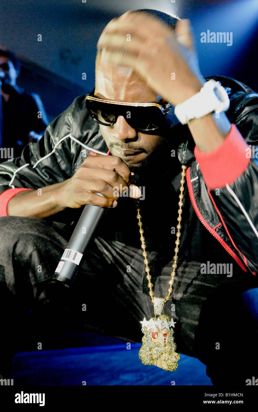 Kanye West  live in concert close up shot - Stock Image