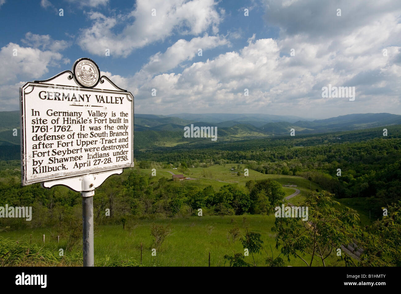 Judy Gap West Virginia Germany Valley named for the German farmers who were its first European settlers - Stock Image