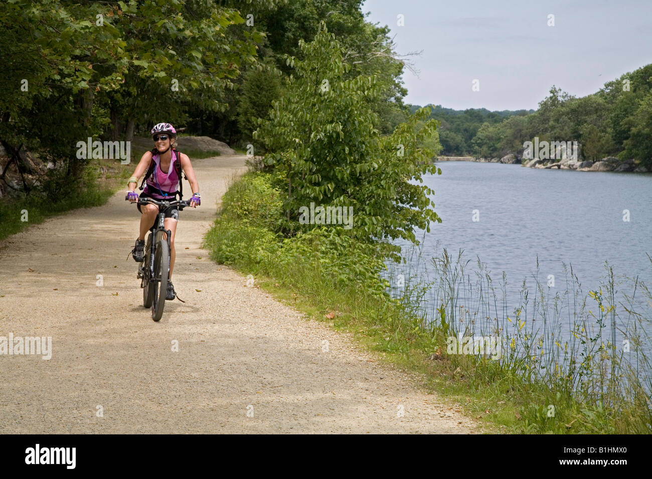 Bike Rider on the C and O Canal Towpath - Stock Image