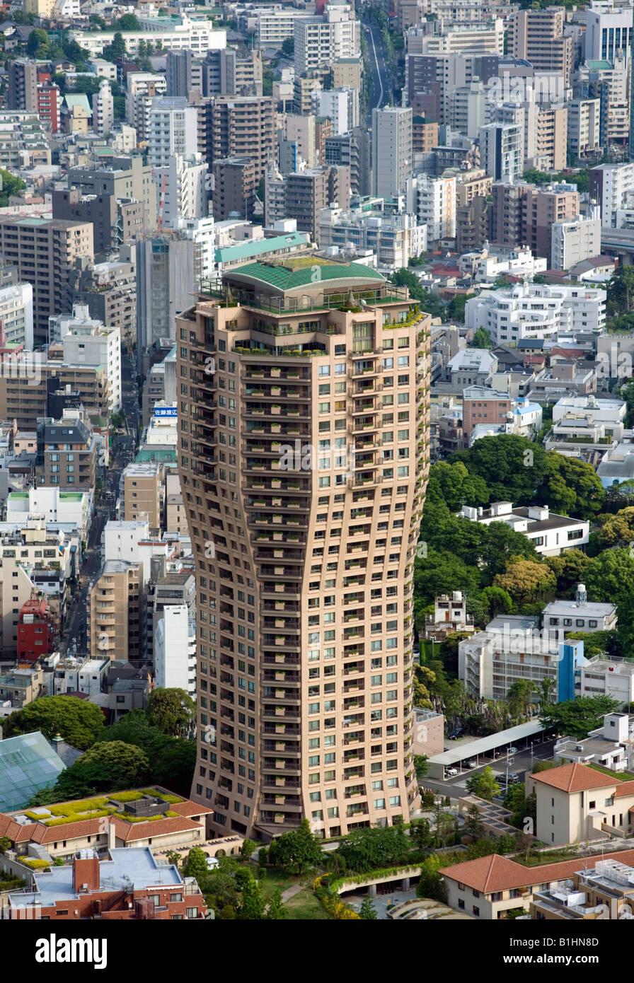 Modern high rise Moto Azabu Hills apartment building in Azabu district of central Tokyo Japan - Stock Image