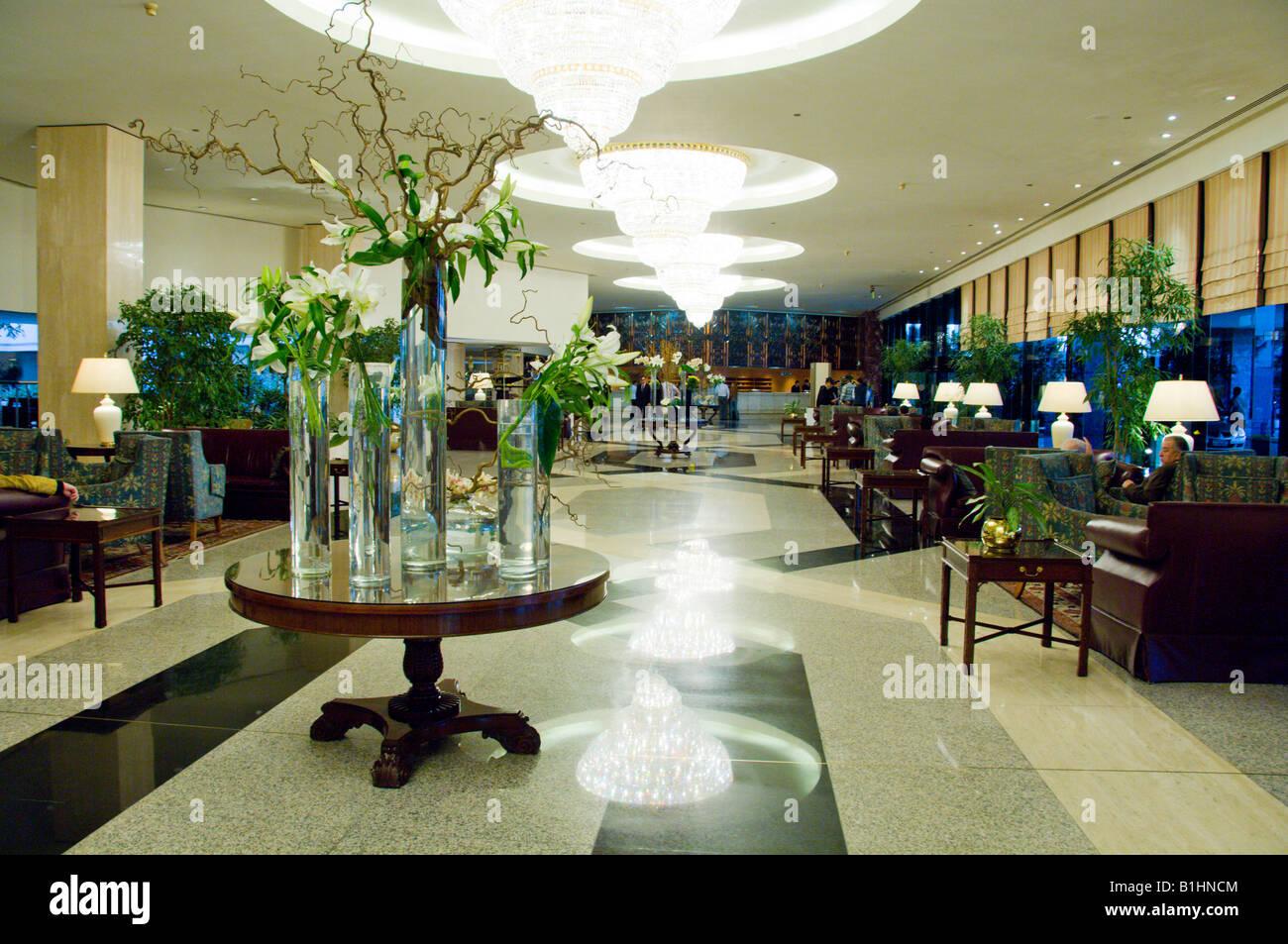 Interior main lobby of the Sheraton Heliopolis Hotel in Cairo Egypt - Stock Image