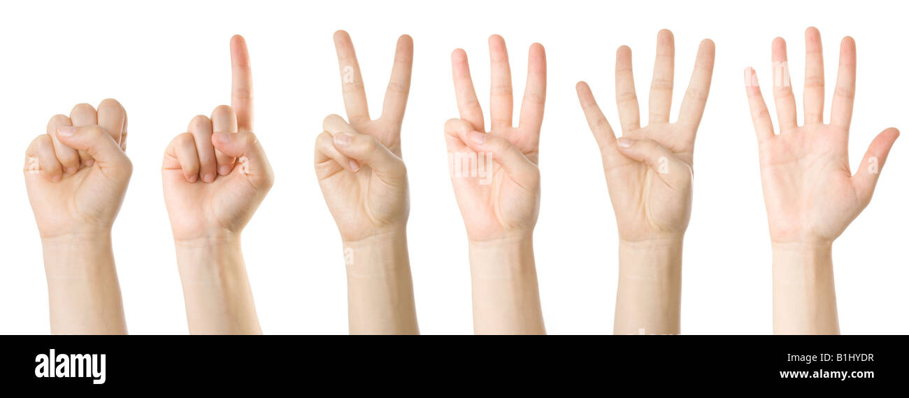 Set of hands making the numbers from 0 to 5 - Stock Image