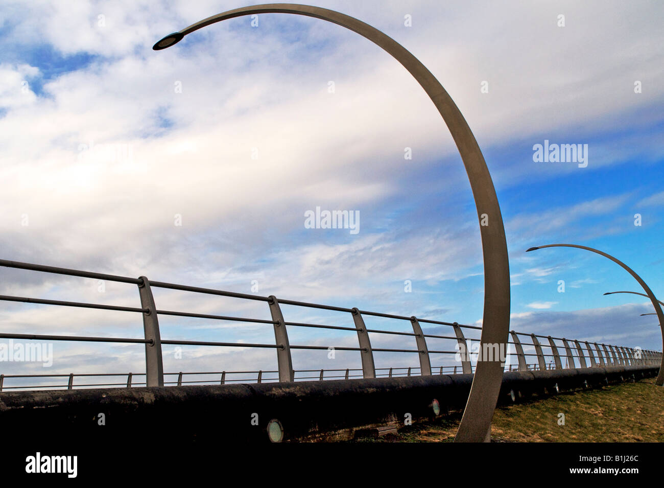 The unusual curved lighting on South Promenade Blackpool - Stock Image
