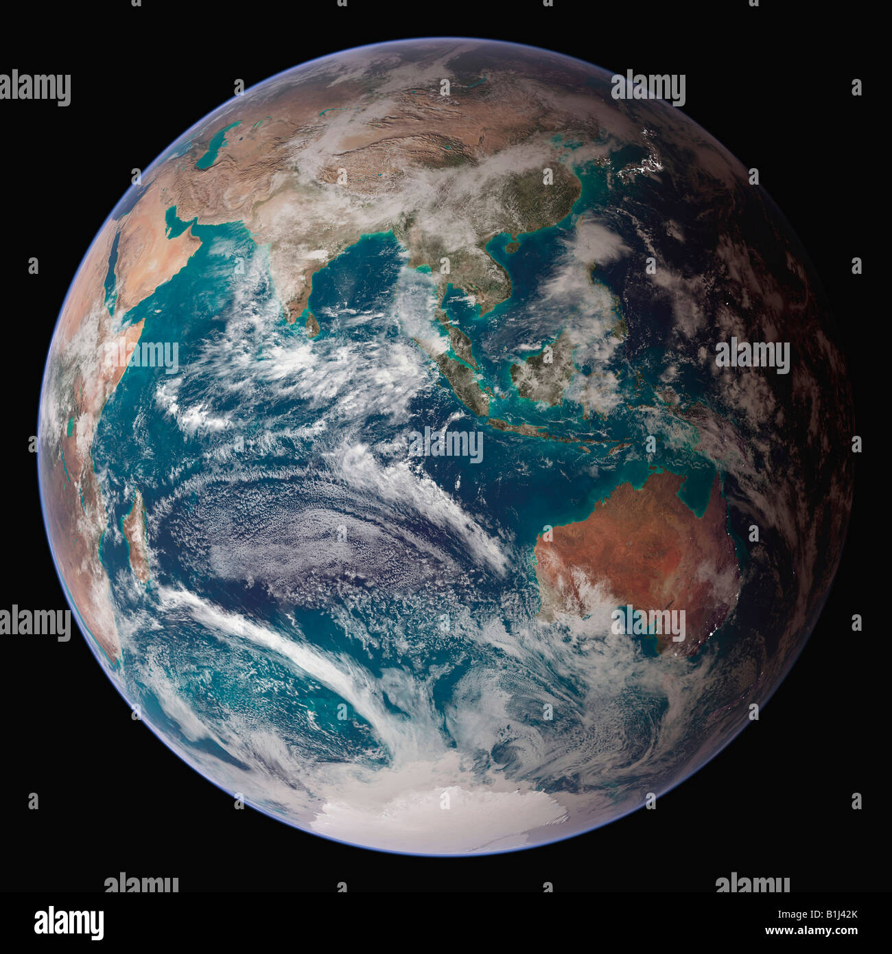Satellite view of the earth showing the Eastern Hemisphere - Stock Image