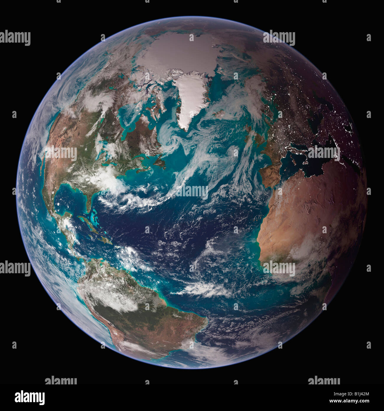 Satellite view of the earth showing the Western Hemisphere - Stock Image