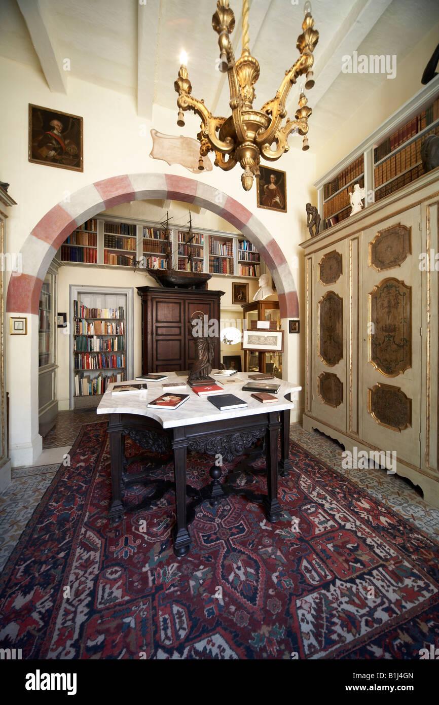 The Archivum de Piro Archives in Casa Rocca Piccola grand historic 16C Maltese Palazzo house Valletta or Valetta - Stock Image
