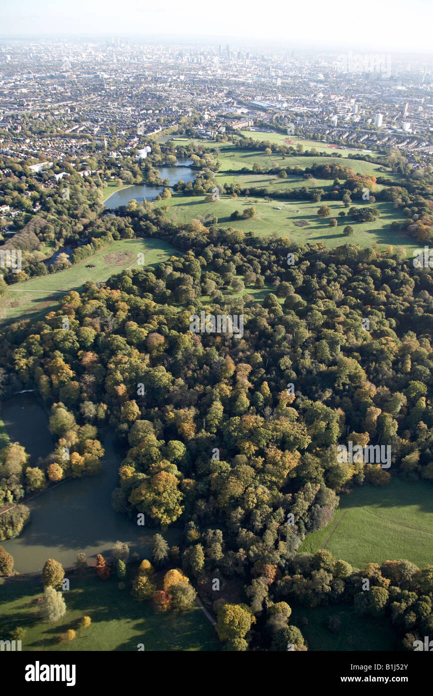 Aerial view south east of Ladies and Highgate Bathing Ponds Hampstead Heath Parliament Hill suburban houses London - Stock Image
