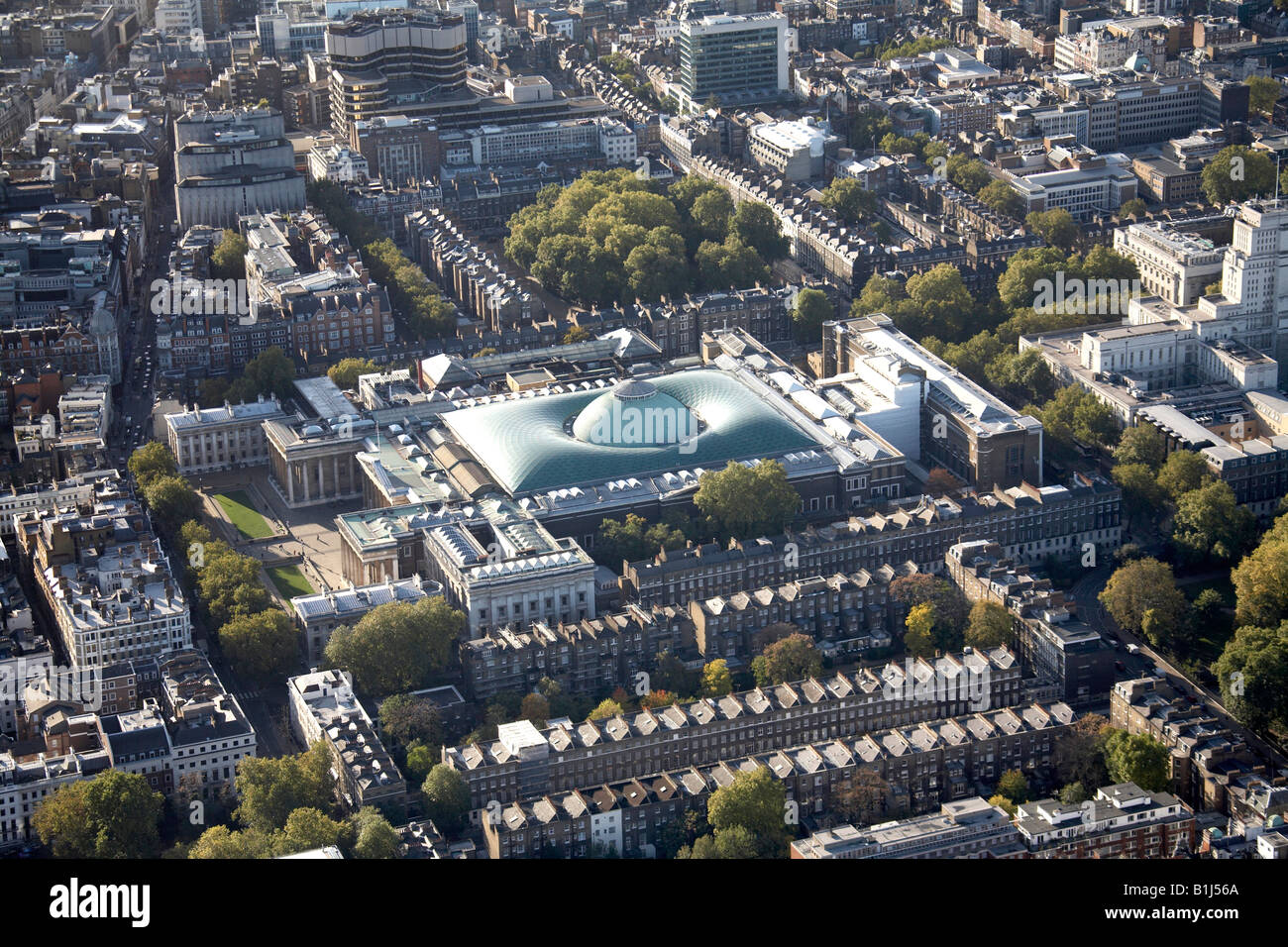 Aerial view south west of The British Museum and inner city buildings Bloomsbury London WC1 England UK - Stock Image
