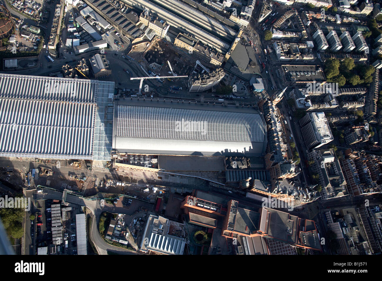 Aerial view north east of King s Cross and St Pancras Station and The British Library London N1 NW1 England UK - Stock Image
