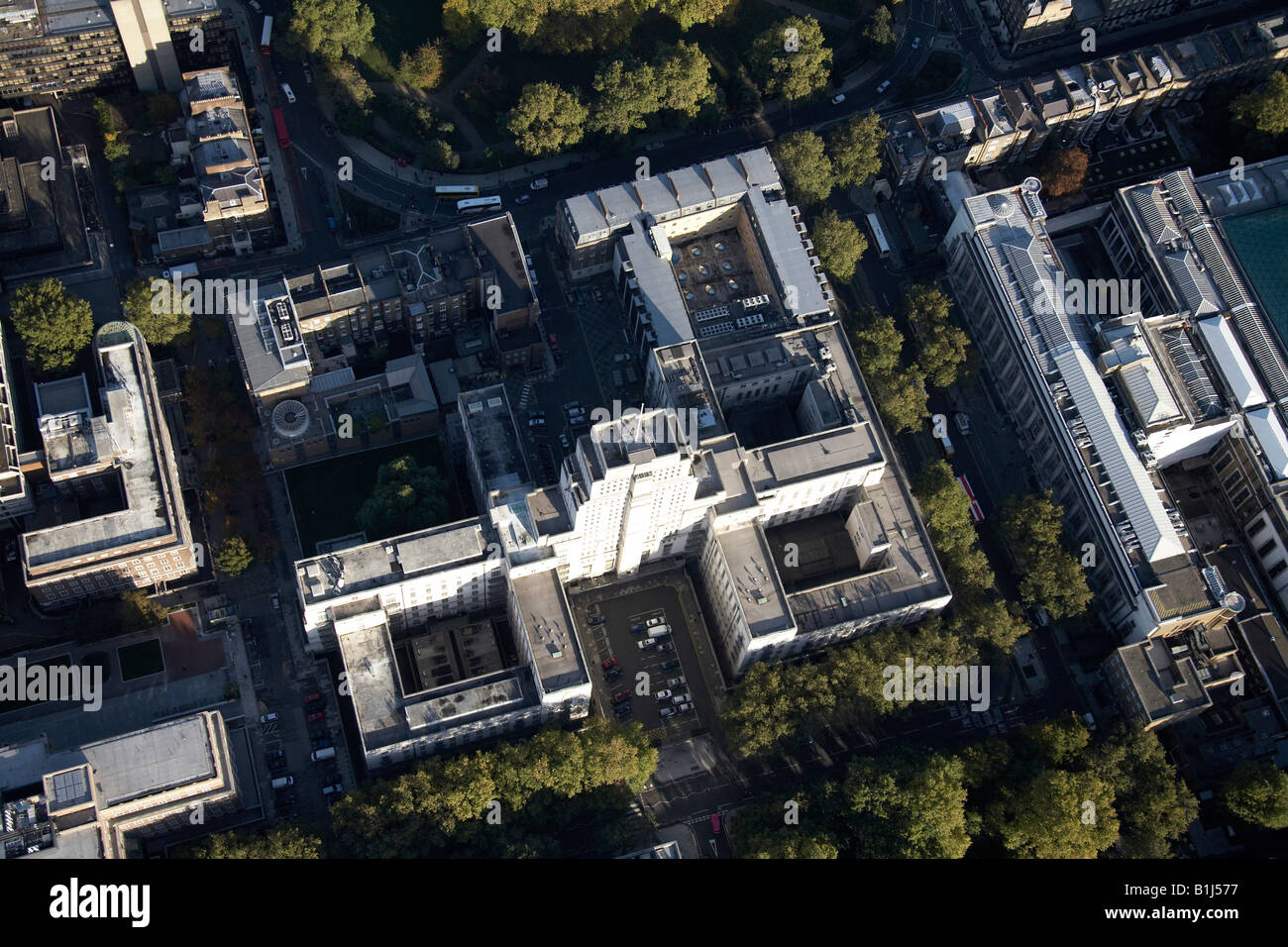 Aerial view north east of Senate House and The Brunei Gallery The University of London Bloomsbury WC1 England UK - Stock Image