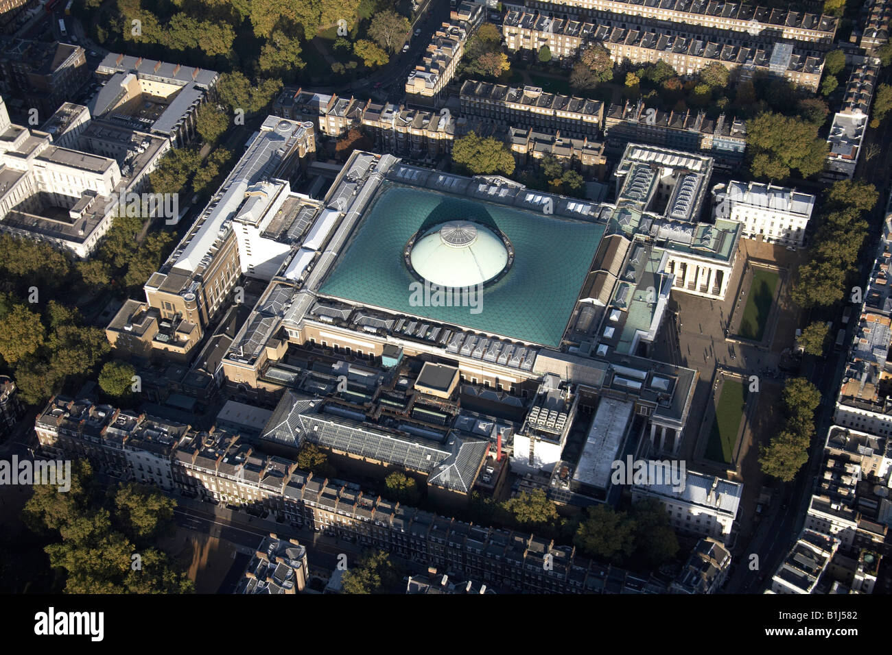 Aerial view north east of The British Museum and inner city buildings Bloomsbury London WC1 England UK - Stock Image