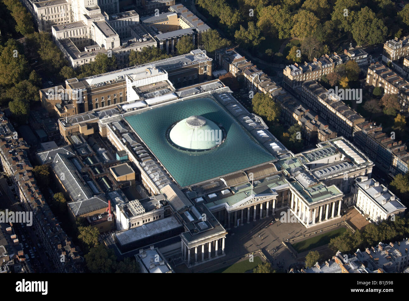 Aerial view north west of The British Museum Bloomsbury London WC1 England UK - Stock Image