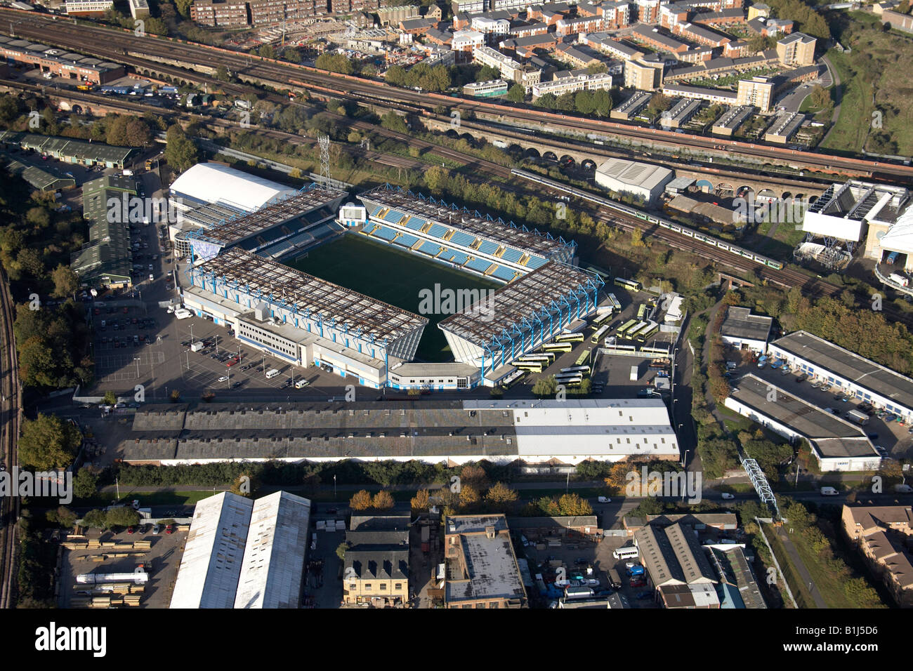Aerial view north east of Millwall Football Ground South Bermondsey London SE16 England UK - Stock Image