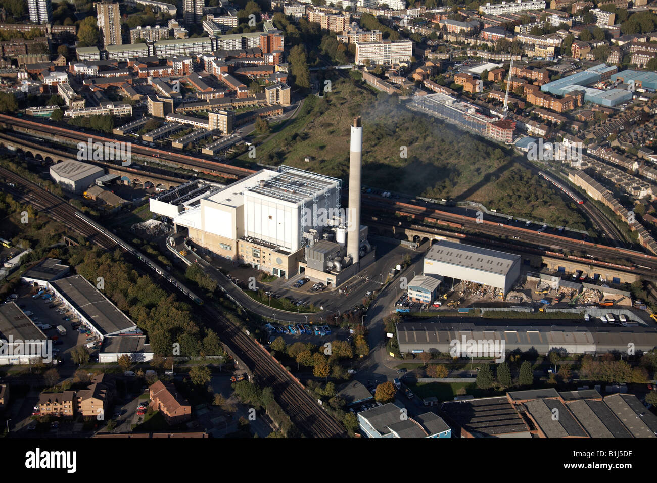 Aerial view north of Orion Business Centre South Bermondsey London SE14 England UK - Stock Image