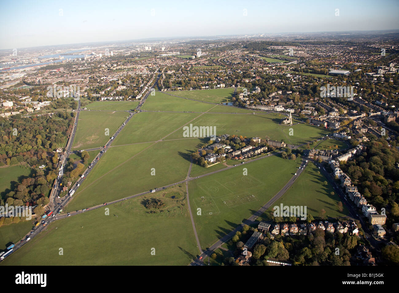 Aerial view north east of Black Heath suburban housing and school Blackheath Vale London SE3 England UK - Stock Image