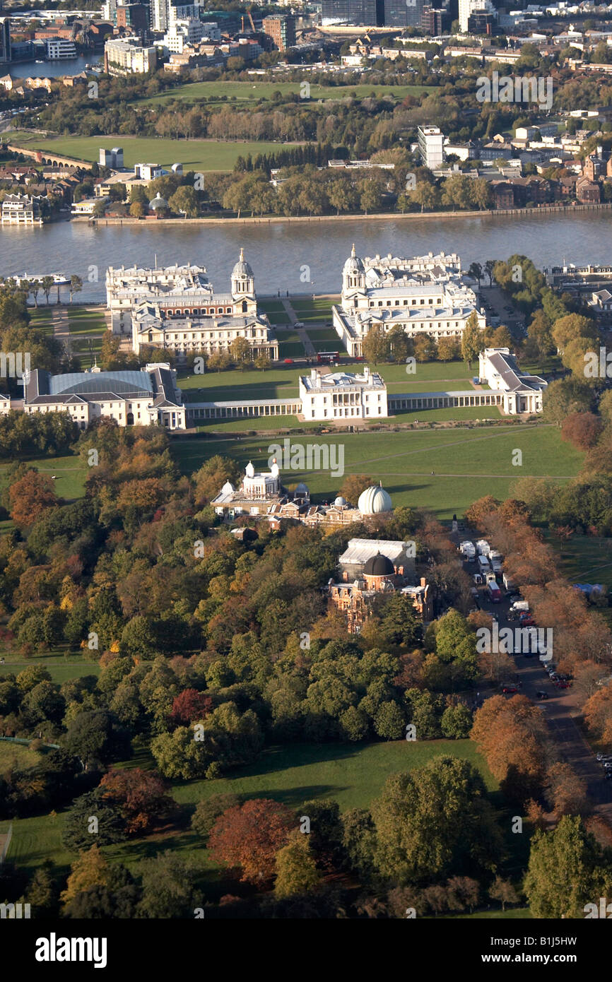 Aerial view north west of Greenwich Park Palace River Thames The Isle of Dogs London SE10 E14 UK - Stock Image