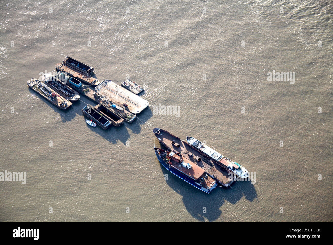 Aerial view of fishing boats River Thames London SE10 England UK - Stock Image