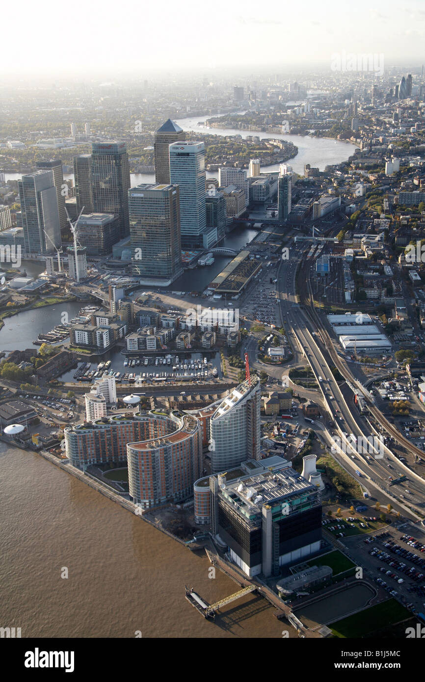Aerial view west of New Providence Wharf Aspen Way Canary Wharf River Thames Rotherhithe and The City of London - Stock Image