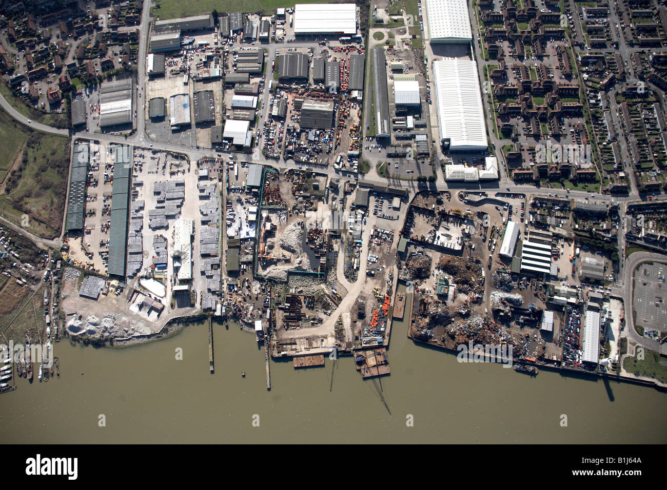Aerial view south of Manford Industrial Estate and Ray Lamb Way Erith Rands River Thames London DA8 England UK High - Stock Image