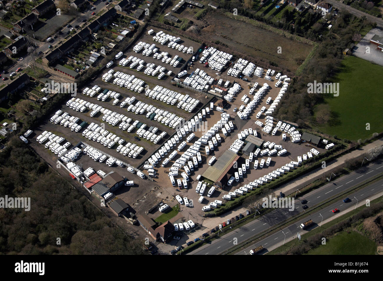 Aerial abstract view south west of caravan park Southend Arterial Road Upminster London RM14 England UK High level - Stock Image