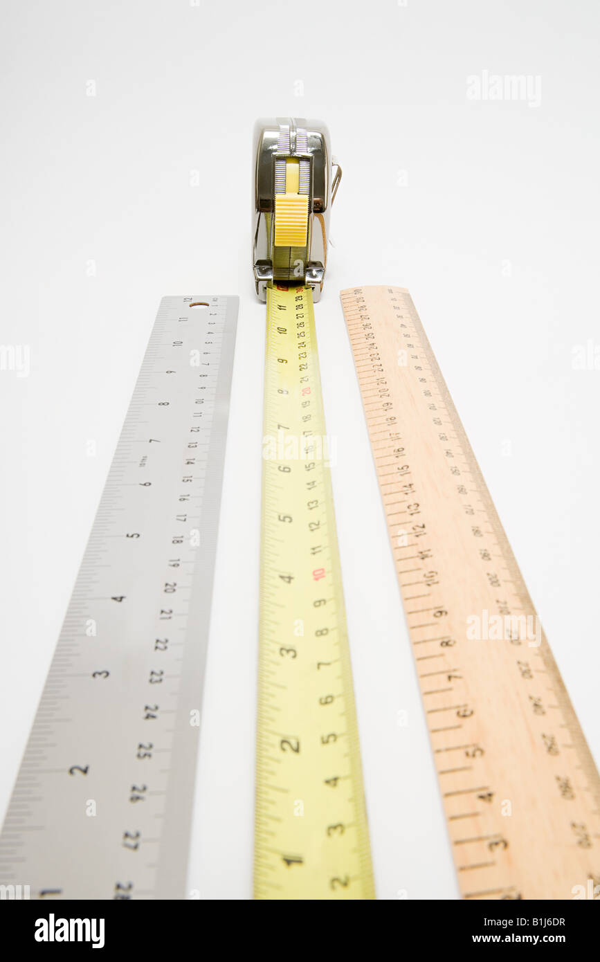 Rulers and tape measure - Stock Image