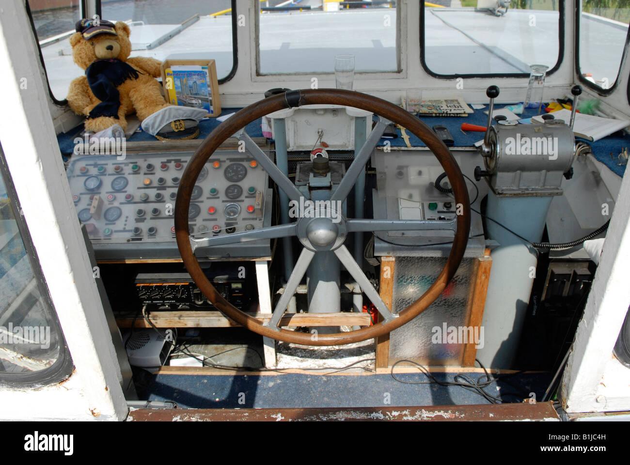 wheel house of a ship Stock Photo