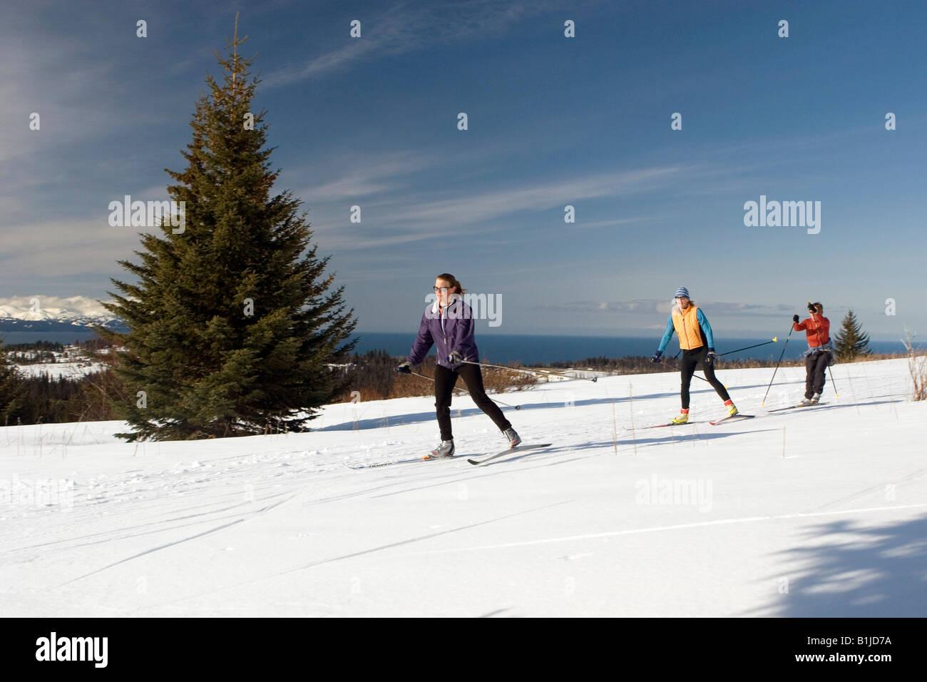 Group of nordic skiers at Baycrest ski trails Homer Alaska Kenai Peninsula - Stock Image