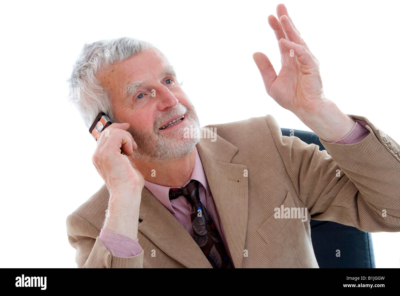 senior businessman with mobile phone - Stock Image