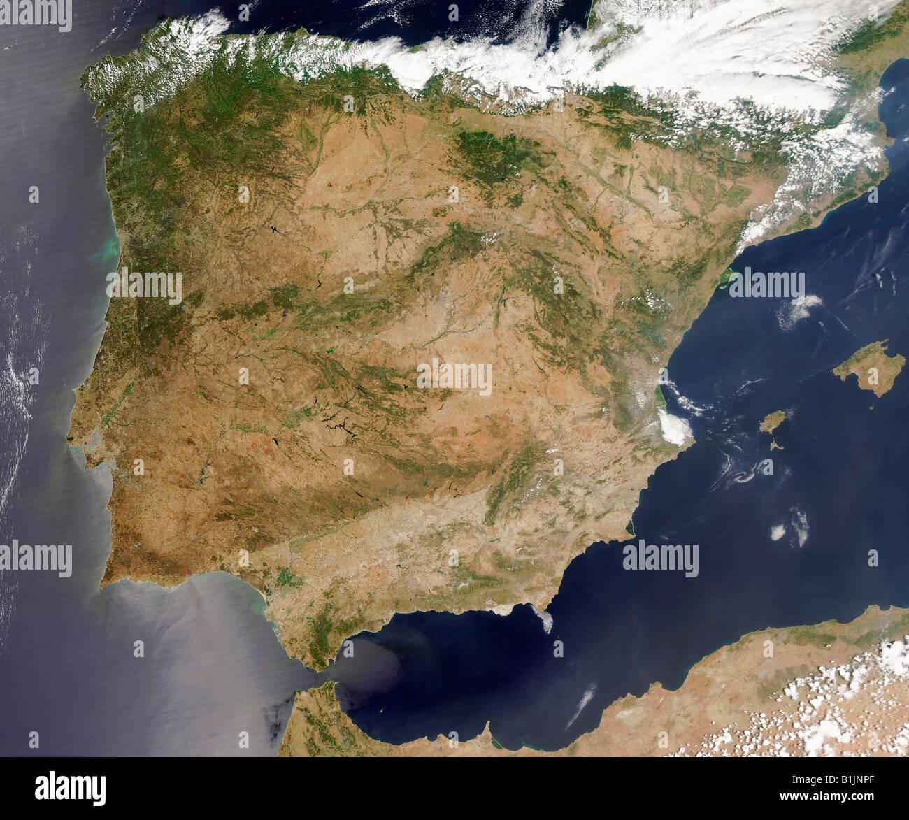 Satellite Image Of The Iberian Peninsula Spain And
