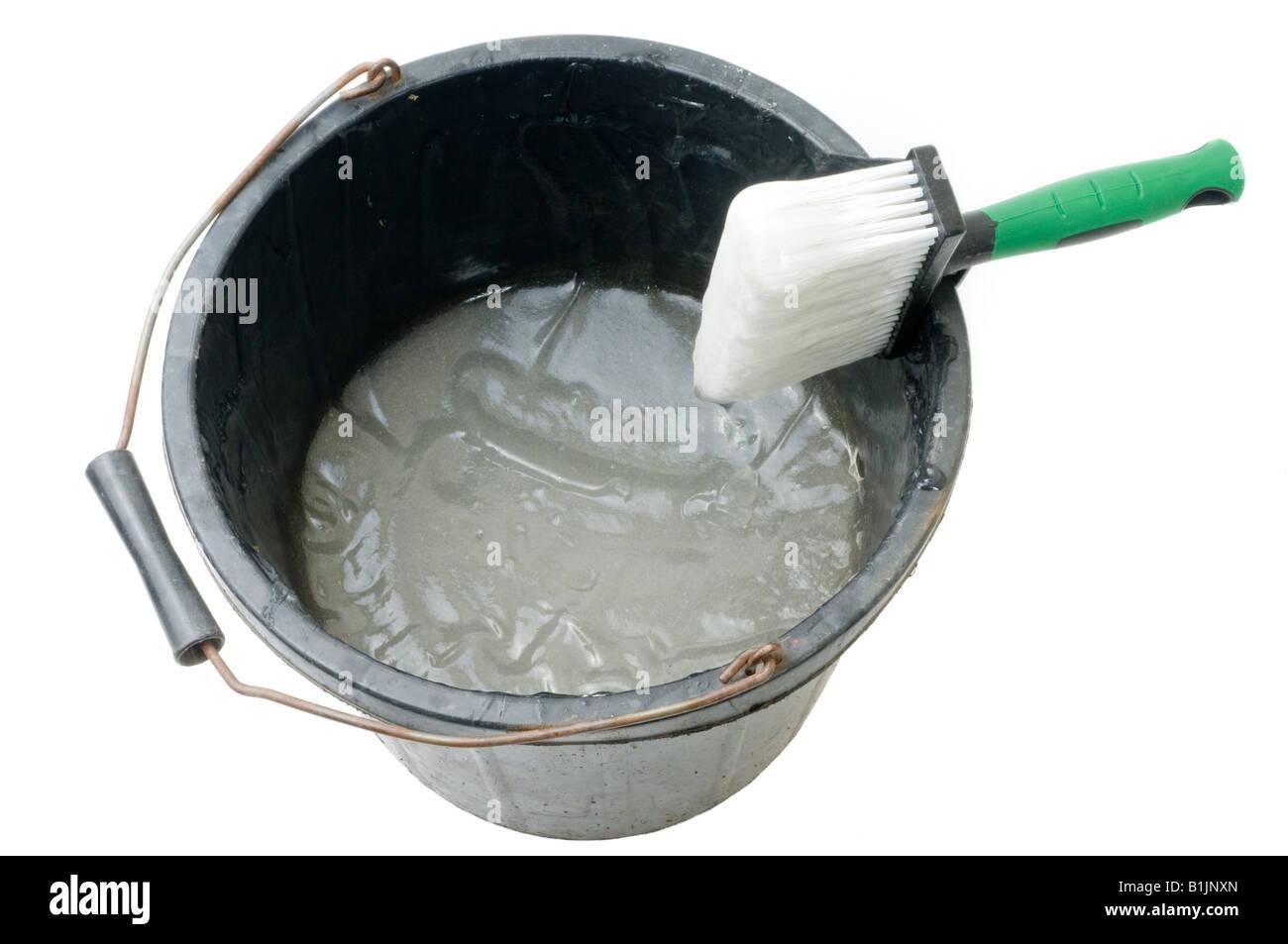 Attractive Wallpaper Paste Brush And Black Bucket