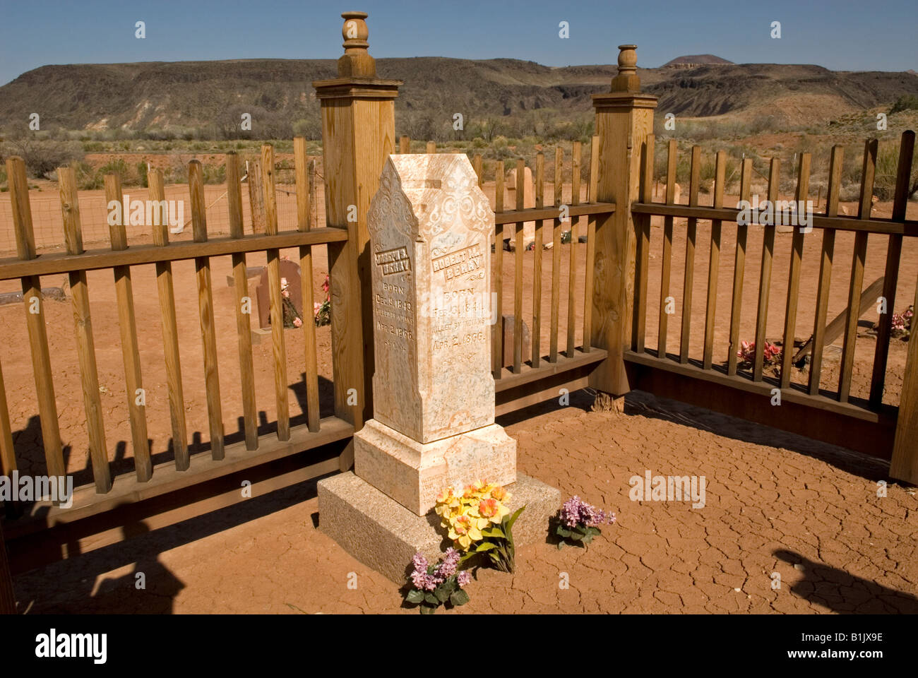 Photograph of Headstone in Grafton Cemetery, Grafton Ghost Town, Utah, USA. Located near Zion National Park. Stock Photo
