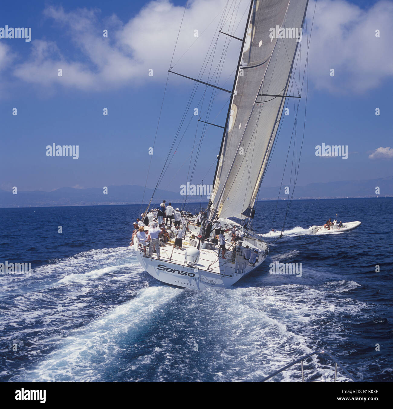 Superyacht Cup Palma 2008 Ulysse Nardin Cup regatta in the Bay of Palma de Mallorca - sailing superyacht Senso One - Stock Image