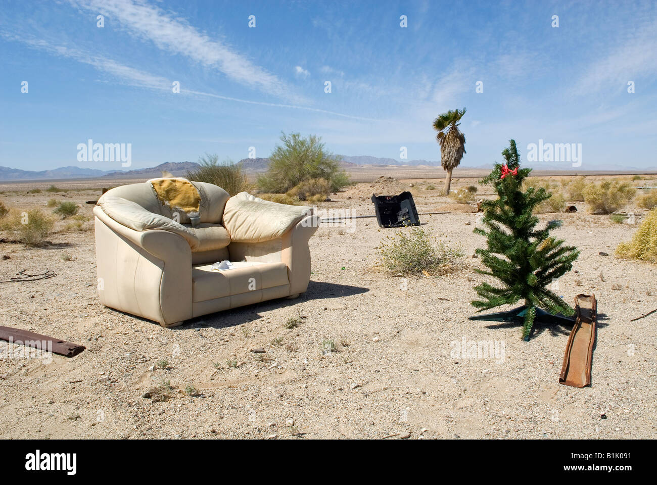 Christmas Tree In The Desert.Christmas Tree And Armchair Mojave Desert Near Ghost Town