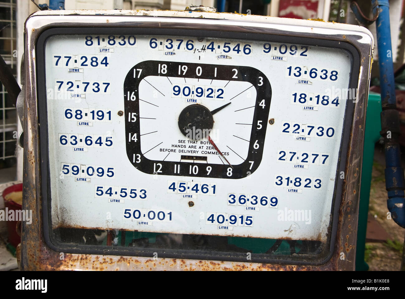 Old fashioned British petrol pump showing conversion from imperial to metric measures in Stockbridge UK Stock Photo