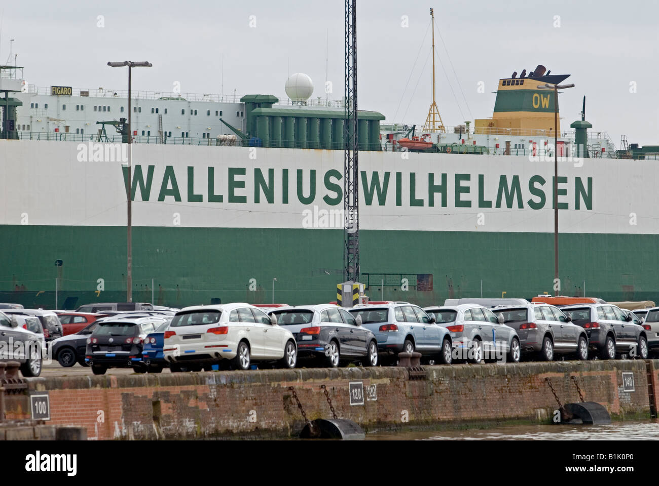 New cars waiting for export at the port of Bremerhavern, Germany. - Stock Image