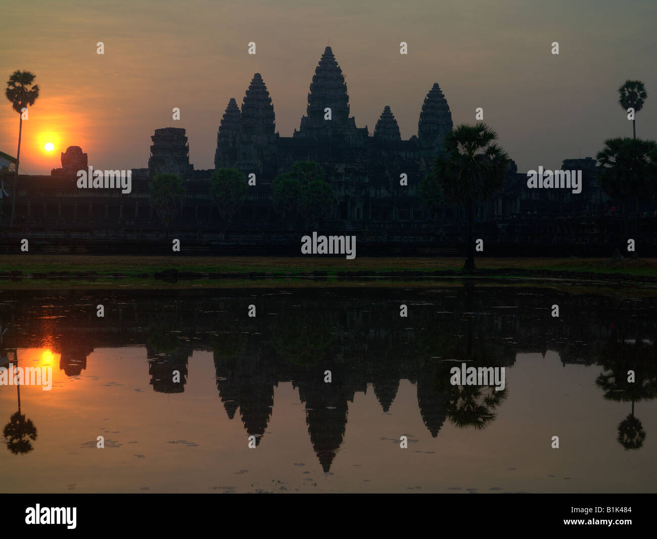 sunrise at Angkor Wat, Siam Reap, Cambodia - Stock Image