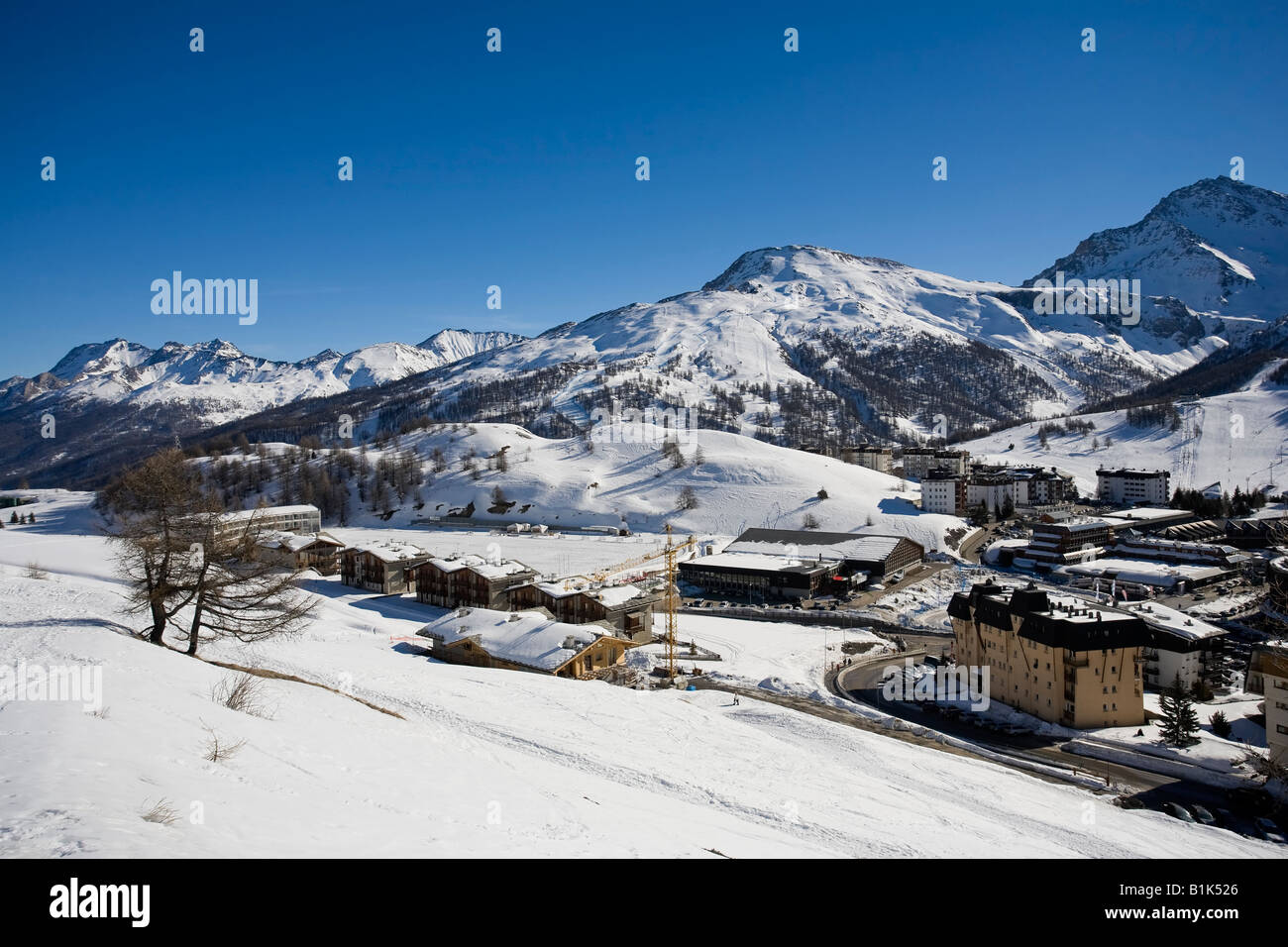 Sestriere Ski Resort Site of 2006 Winter Olympics Turin Province Piedmont Italy Stock Photo