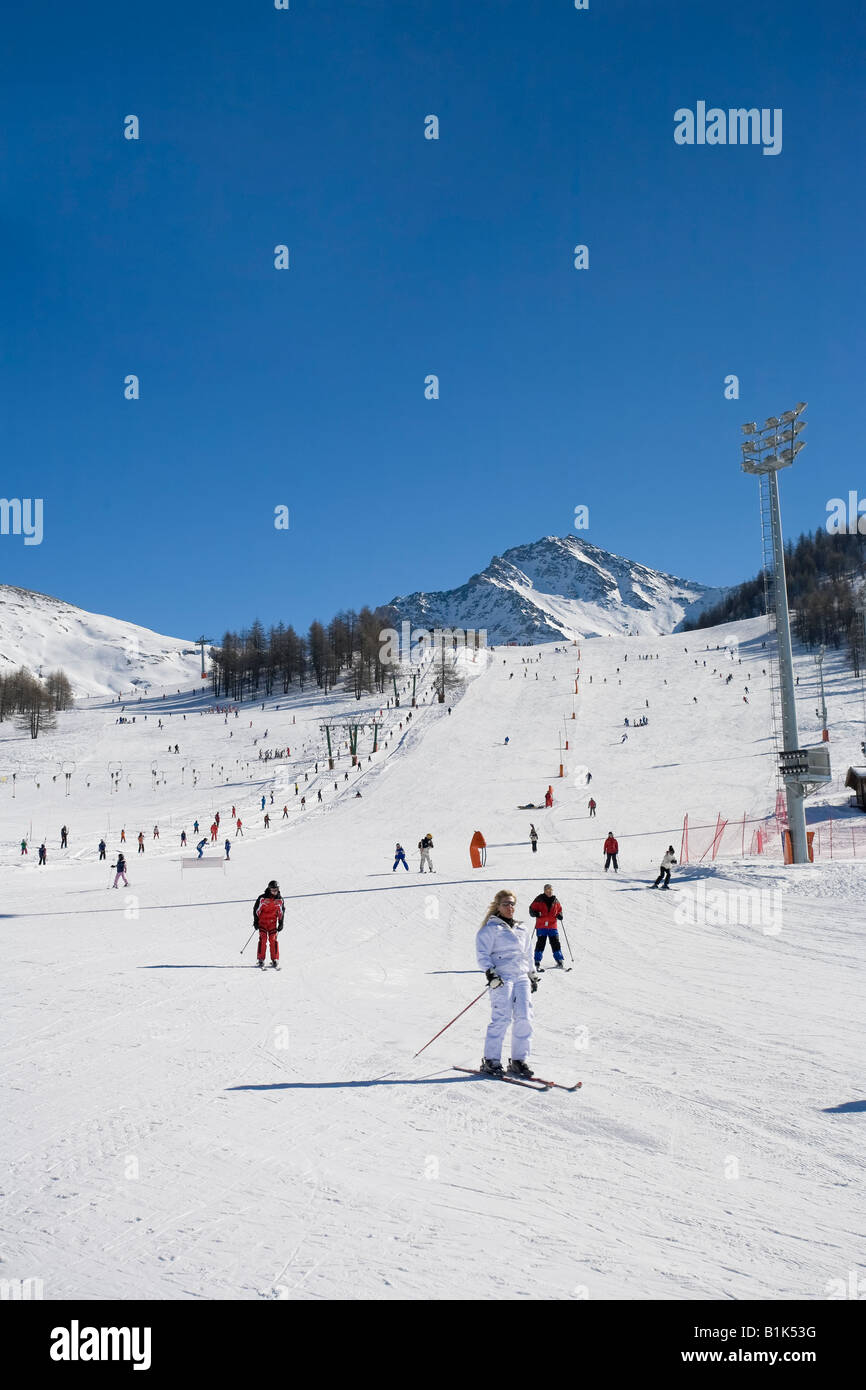 Sestriere Ski Resort Site of 2006 Winter Olympics Turin Province Piedmont Italy Stock Photo