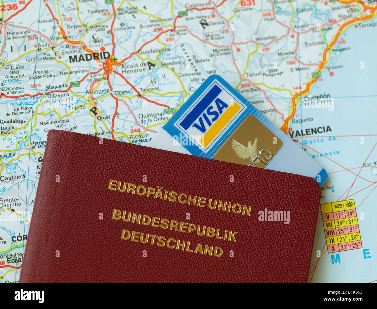 Travel Map Of Spain.Passport Travel Visa Card Credit Card On A Map Of Spain With Madrid
