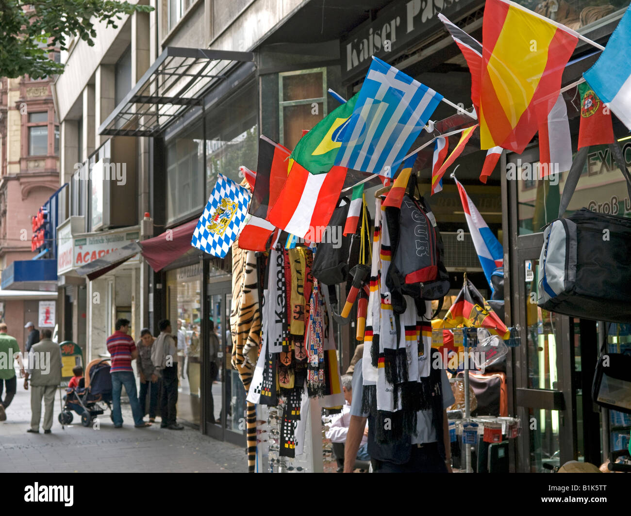 shop with souvenirs and gaudy utils for football fans like banner flag sharp tricot in Kaiserstraße Frankfurt - Stock Image