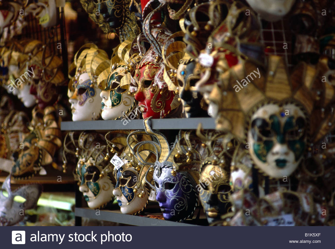 Venice Italy Ornate Venetian masks for sale on a stall - Stock Image