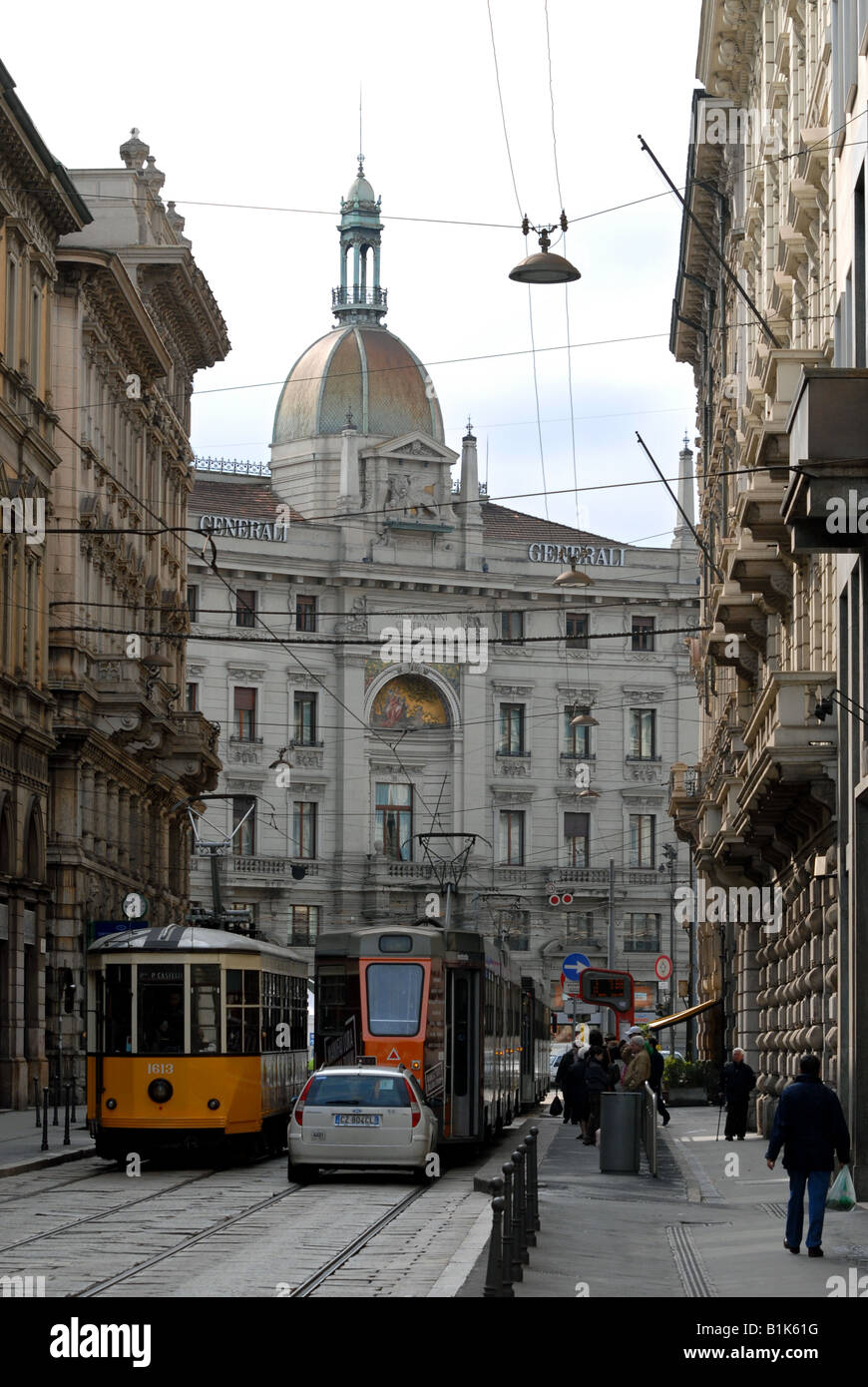 Piazza Cordusio seen from Via Broletto, Milano, Lombardy, Italy. - Stock Image