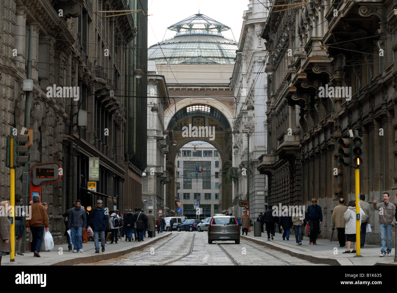 Galleria Vittorio Emanuele II as seen down Via Tommaso Grossi from Piazza Cordusio, Milano, Lombardy, Italy. - Stock Image
