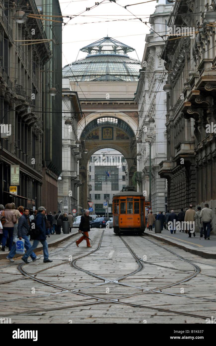 Galleria Vittorio Emanuele II as seen down Via Tommaso Grossi from Piazza Cordusio, Milano, Lombardy, Italy. - Stock Image