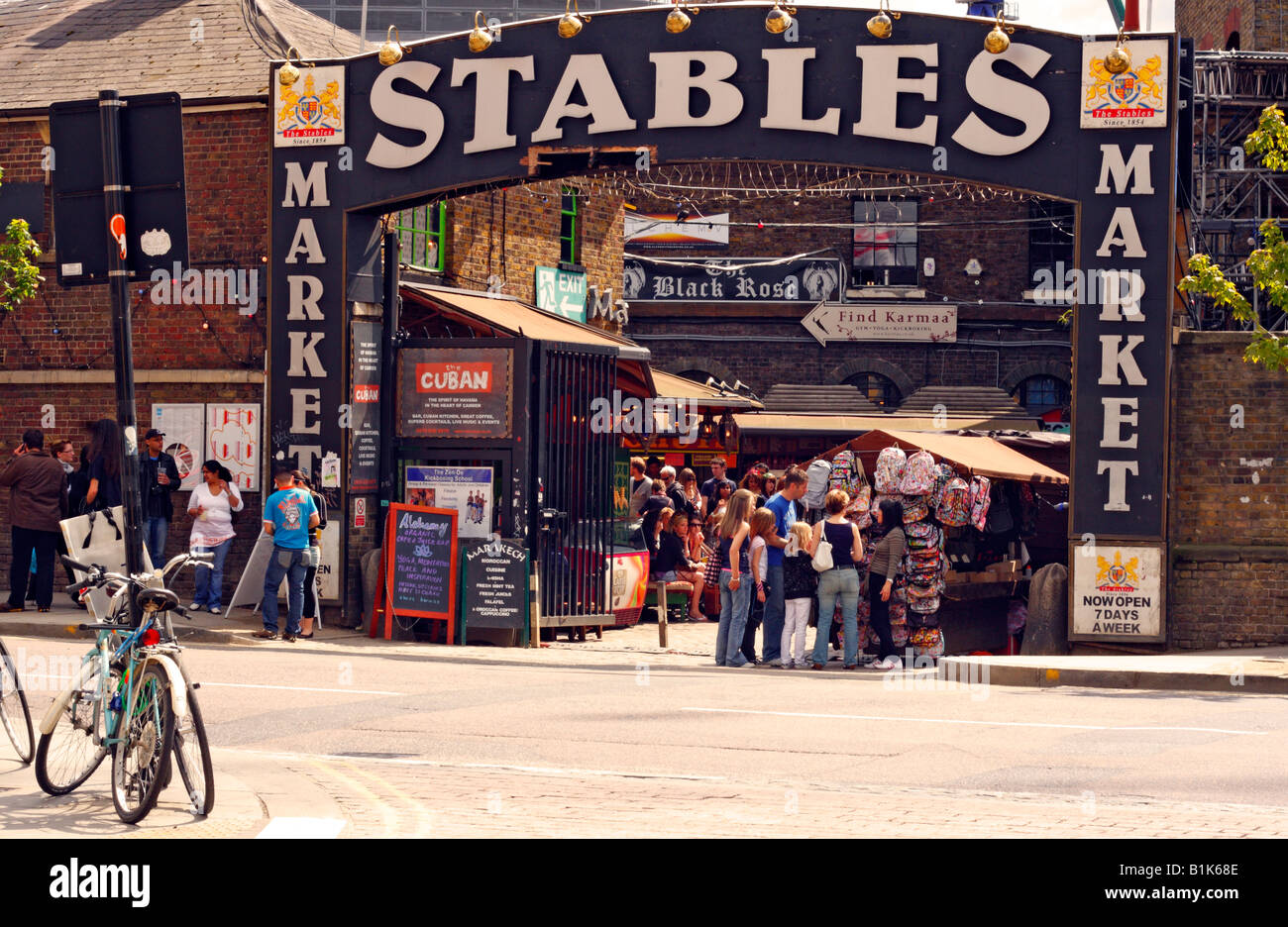Entrance to Stables Market, Camden in London - Stock Image